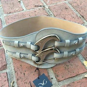 . NWT Monika Chiang designer statement belt grey